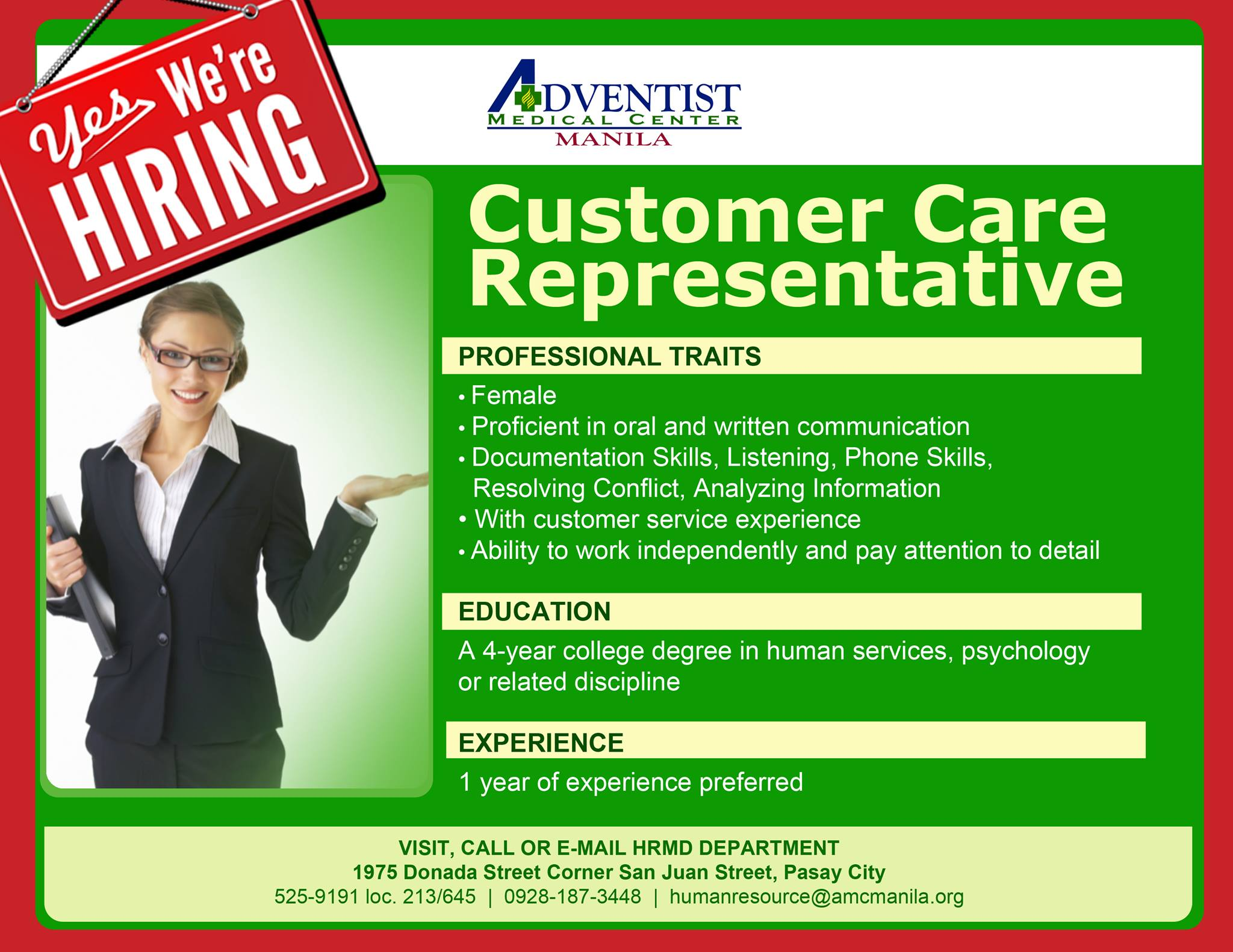 Customer Care Representative